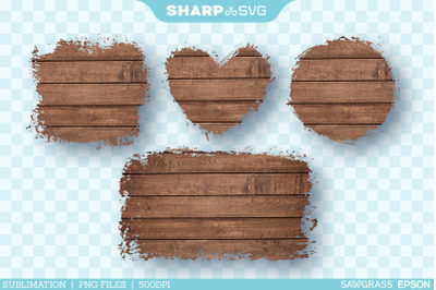 Distressed Brown Wood Sublimation PNG | Square Heart Circle Rectangle