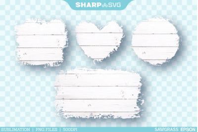 Distressed White Wood 1 Sublimation PNG | Square Heart Circle Rectangl