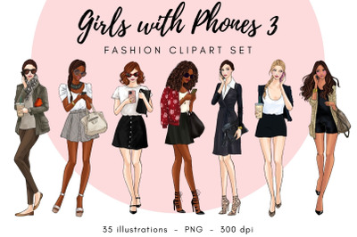 Girls With Phone 3 - Fashion Clipart Set