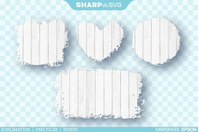 Distressed White Wood 2 Sublimation PNG | Square Heart Circle Rectangl