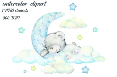 Watercolor animals clipart, White Teddy bear. The moon, the clouds. Wi