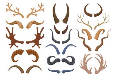 Wild animals horns antlers, reindeer, bull, goat. Hunting trophy deer,