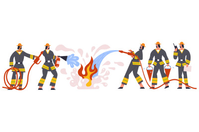 Firefighters team characters rescue and emergency service. Firemen eme