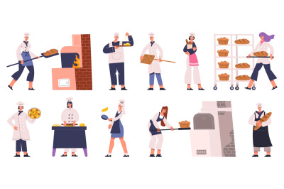 Professional bakers characters cooking, baking bread and pastry. Baker