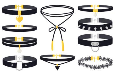 Cartoon women fashion jewel accessories choker necklaces. Modern women