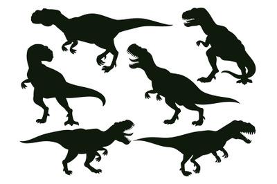 Cartoon jurassic predator tyrannosaurus rex, extinct t-rex silhouette.