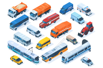 Isometric public services transport, taxi, ambulance and police car. U