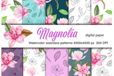 Magnolia watercolor digital paper. Bright pink floral seamless pattern