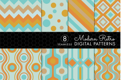 8 Seamless Modern Retro Patterns - Turquoise & Orange