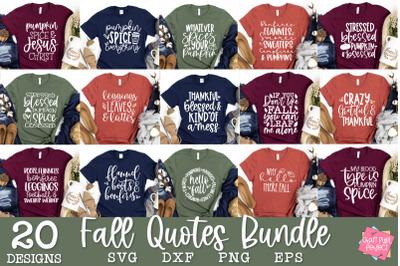 Fall Tshirt Quotes Bundle   Autumn Svg Bundle