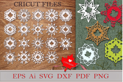 Snowflakes with Maple Leaf. Files for cutting