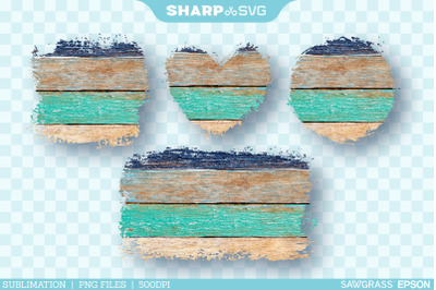 Distressed Blue Wood Sublimation PNG | Square Heart Circle Rectangle