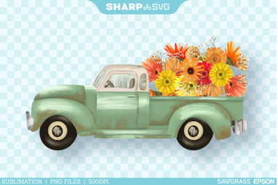 Fall Truck Sunflowers PNG | Watercolor Sublimation Autumn
