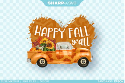 Happy Fall Yall PNG | Watercolor Truck Sublimation Autumn