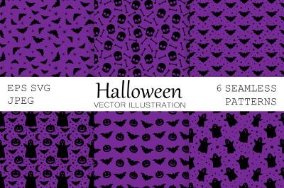 Halloween pattern. Pumpkin pattern. Bats pattern. Ghost SVG