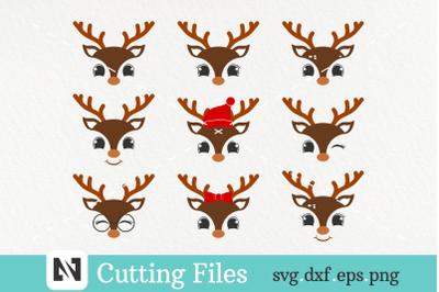 Bundle of 9 Cute Deer Face Svg - deer svg, deer face svg