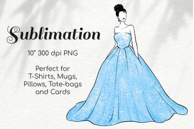 Fashion Girl in Blue Glitter Princess Dress Character Sketch