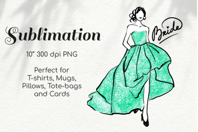 Bride in Mint Green Glitter Dress Character Sketchy Illustration