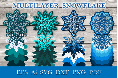 Four multilayer snowflakes
