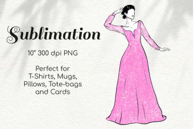 Woman in Pink Glitter Lace Dress Character Retro Sketch