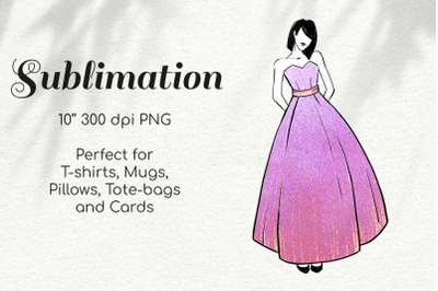 Bridesmaid in Holographic Glitter Dress Character Sketch