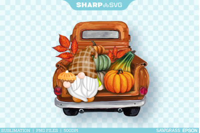 Fall Gnome Sublimation PNG | Watercolor Truck Sublimation Autumn PNG