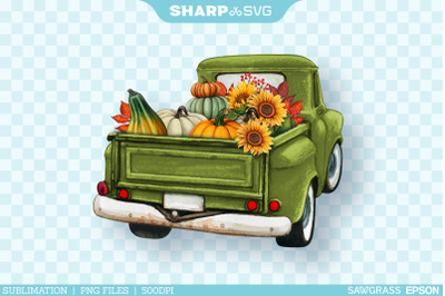 Autumn Truck Sublimation PNG | Fall Watercolor Truck