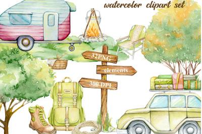 Watercolor clipart, fall camping clipart, SUV, mobile home, landscape,