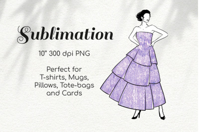 Latina Dancer in Lavender Glitter Dress Character Sketch