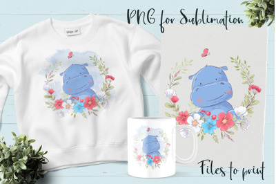 Cute hippo sublimation. Design for printing.