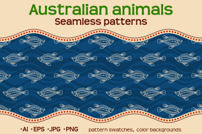 10 color Australian seamless patterns with animals
