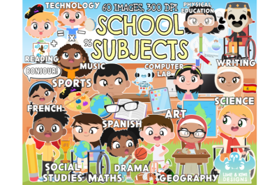 School Subjects Clipart - Lime and Kiwi Designs