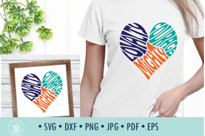 Loyalty Courage Mighty SVG Cut File in Heart Shape