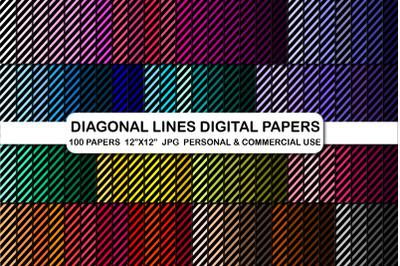Diagonal lines digital paper, Stripes pattern paper pack
