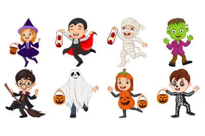 Set of Eight Cartoon Halloween Children