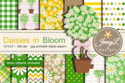 Daisy Flower Topiary DIgital Papers and Clipart