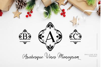 Arabesque Vines Monogram Font