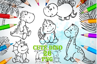 dinosaur clipart. line art dino. Coloring Sketch. Commercial Use. Kids