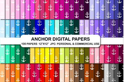 Anchors Nautical Digital Paper Pack Set Ocean Pattern Background Paper