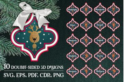 Santa's reindeers-Christmas Arabesque Ornaments Bundle