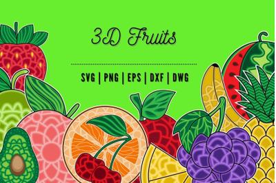 3D Fruits SVG Bundle