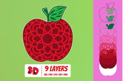 3D Apple SVG Cut File
