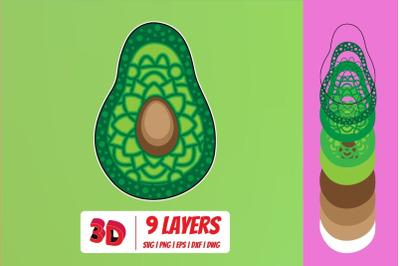 3D Avocado SVG Cut File
