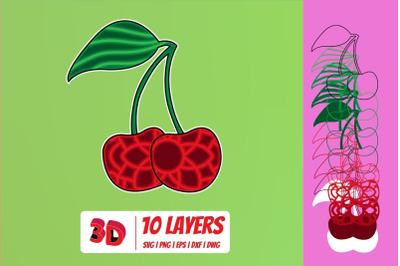 3D Cherry SVG Cut File