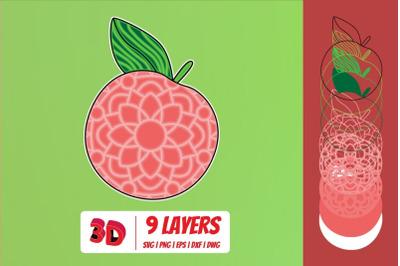 3D Peach SVG Cut File