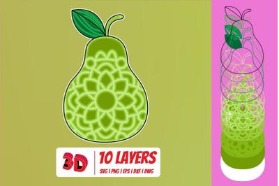3D Pear SVG Cut File