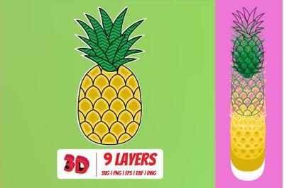 3D Pineapple SVG Cut File