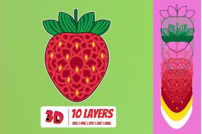 3D Strawberry SVG Cut File