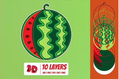 3D Watermelon SVG Cut File