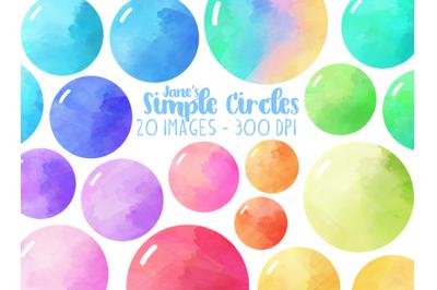 Watercolor Simple Circles Clipart